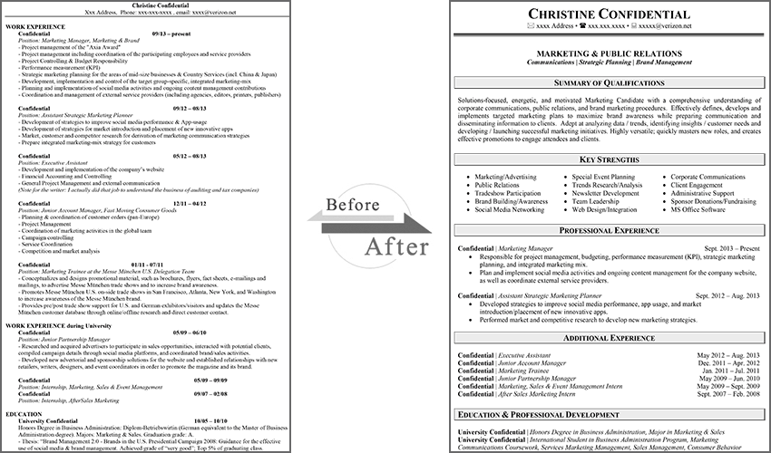 Before & After Resume