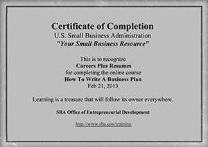 sba business plan certified - Certified Writer Resume