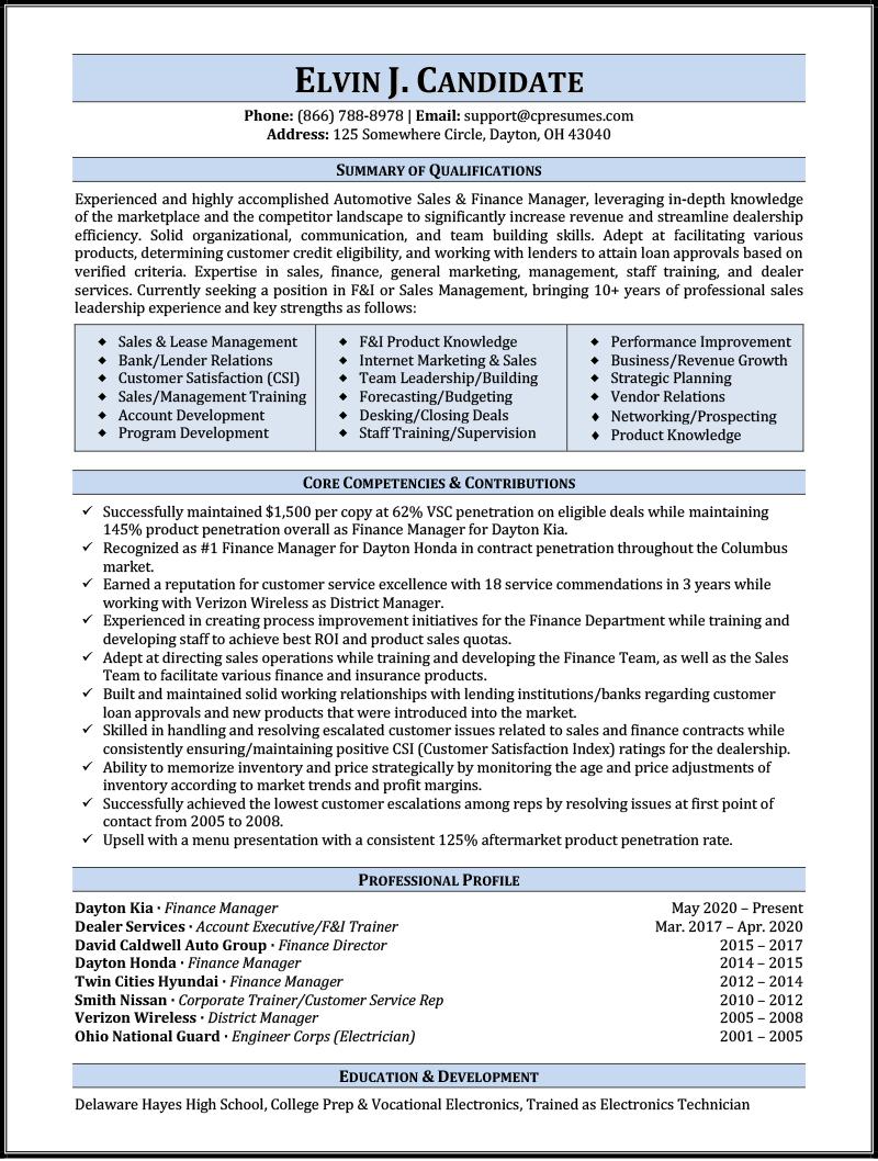 Automotive Sales Resume Sample