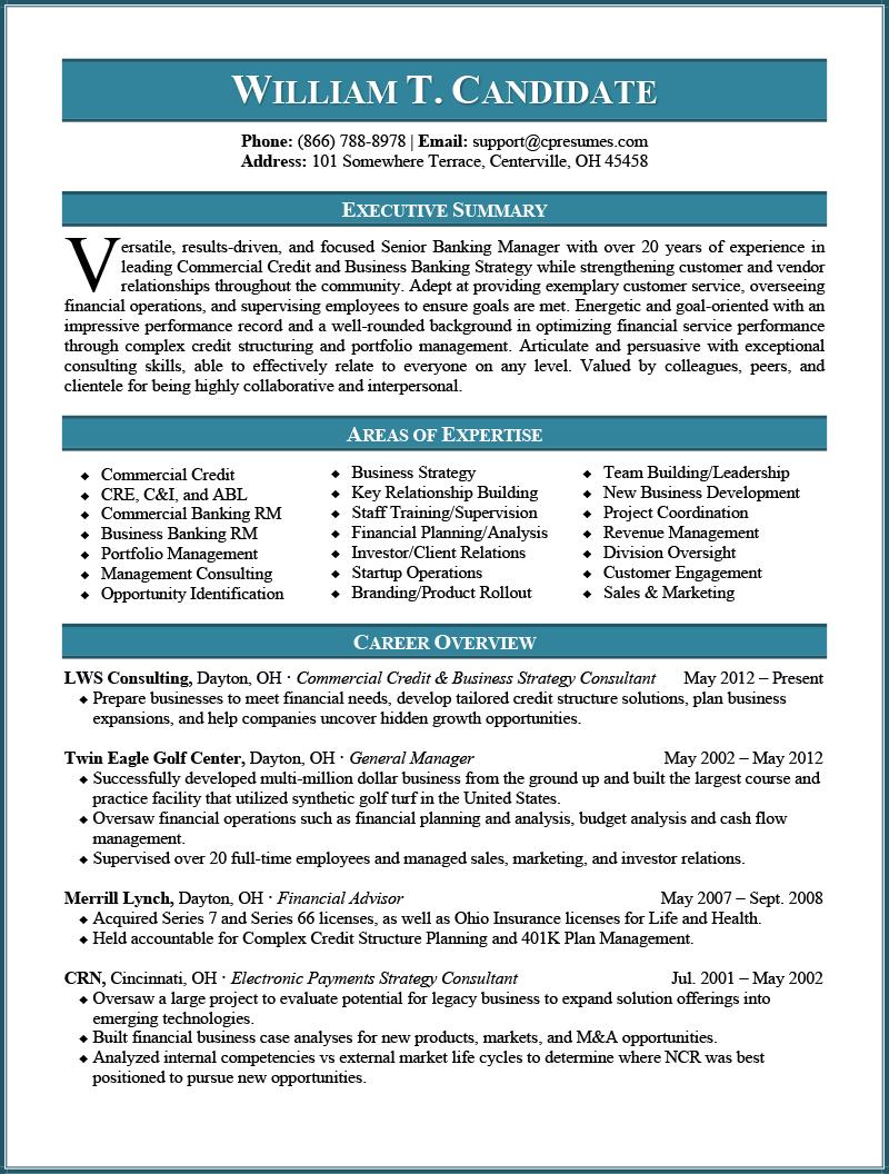 Banking Resume Sample Page 1