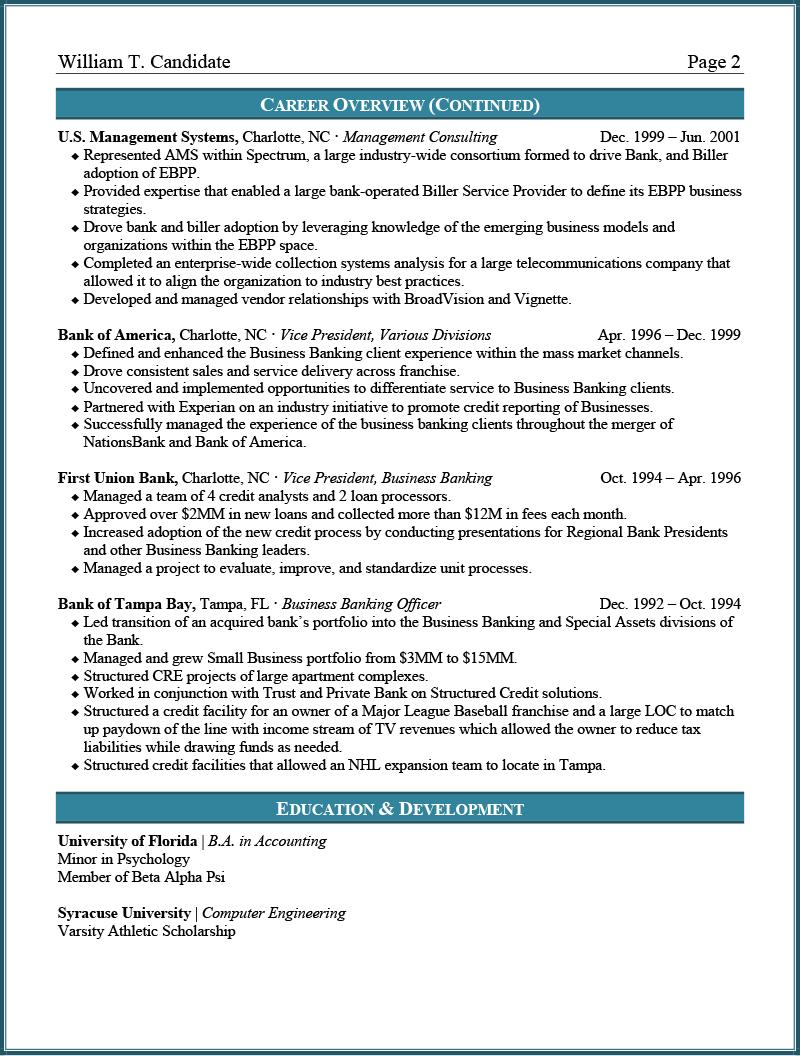 Banking Resume Sample Page 2
