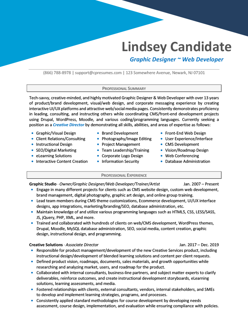 Graphic Design Resume Sample Page 1