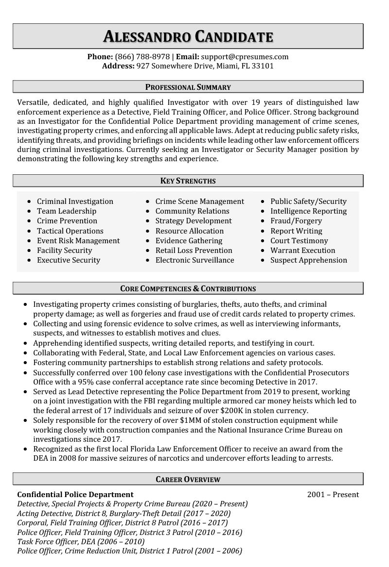 Law Enforcement Resume Sample Page 1