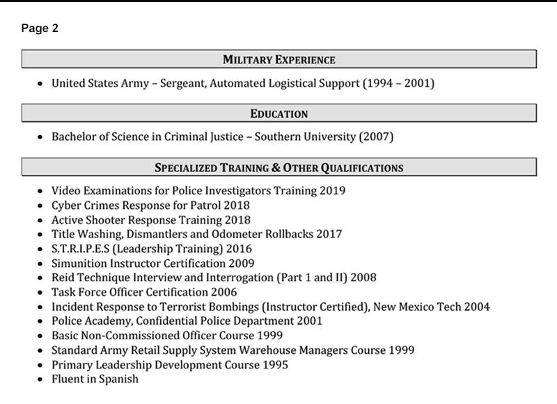 Law Enforcement Resume Sample Page 2