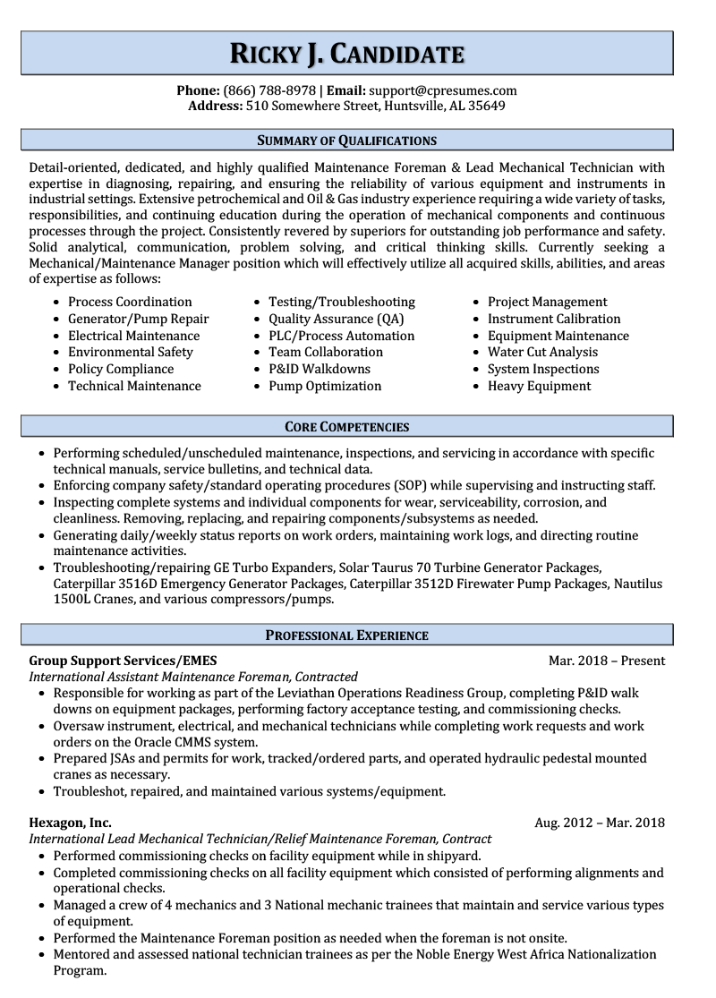 Maintenance Resume Sample Page 1