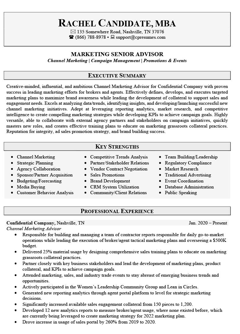 Marketing Sales Resume Sample Page 1
