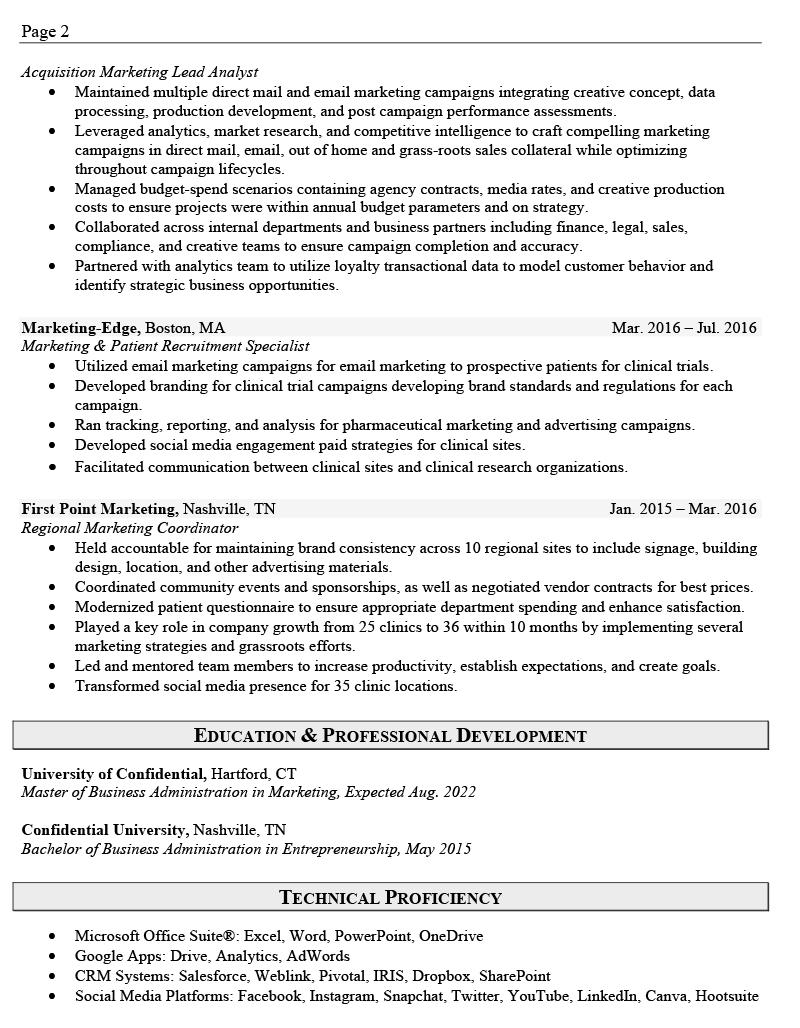 Marketing Sales Resume Sample Page 2
