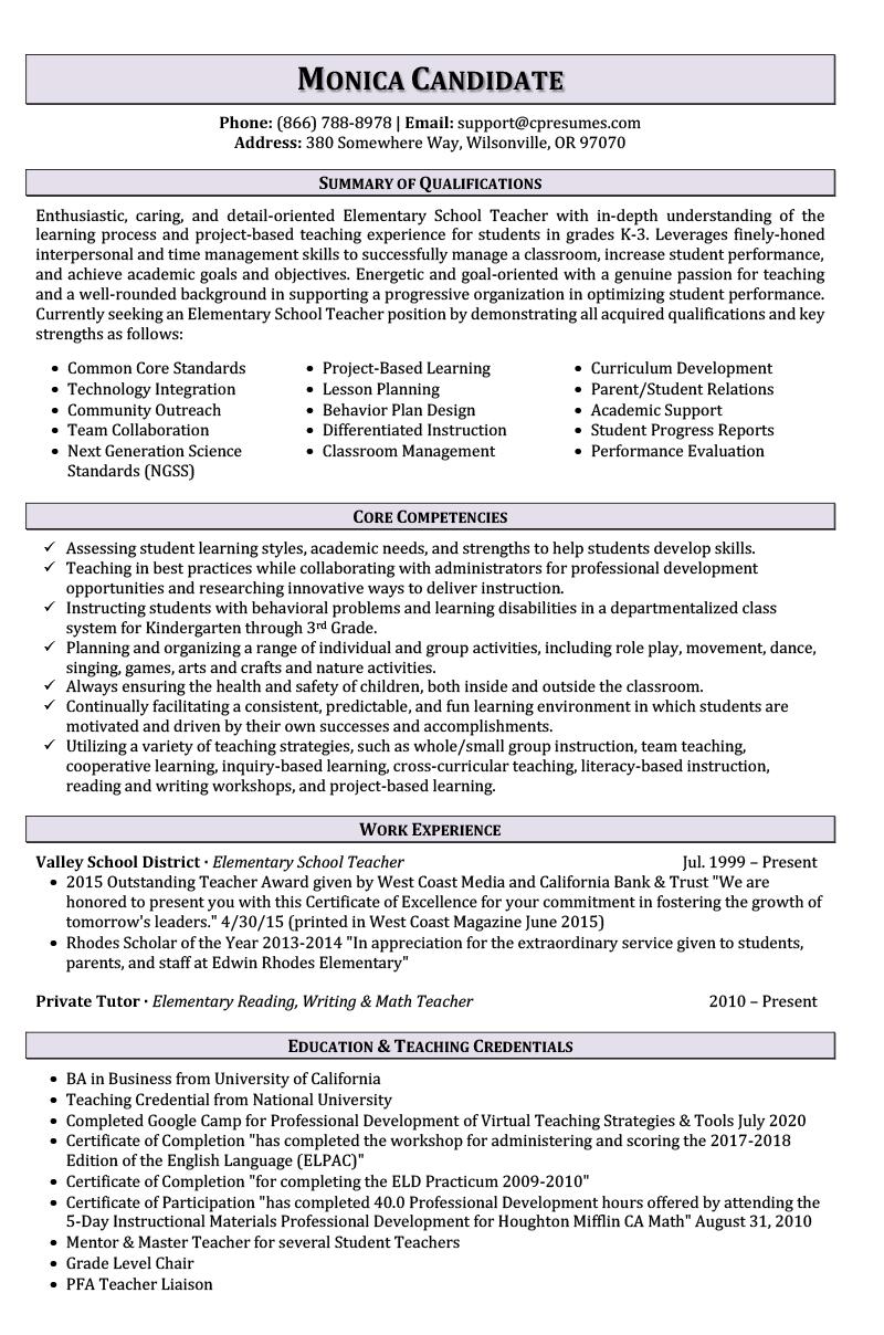 Teaching Resume Sample